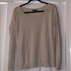 Tan sweater with lace detail on the back